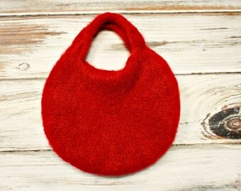 Knit and Felted Purse - Red Baron Bag - Red Felted Bag Womens Accessories - READY TO SHIP