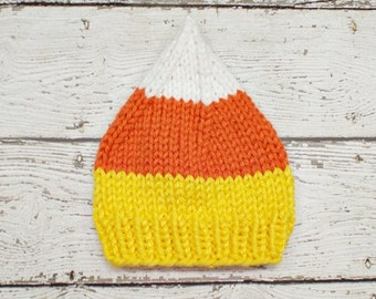 Instant Download Knitting Pattern - Womens Hat Pattern Knit Hat Pattern - Halloween Hat Pattern Candy Corn Hat Pattern - Womens