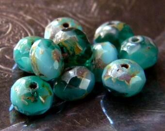 Emerald Sky (15) -Czech Glass Rondelles 7x5mm
