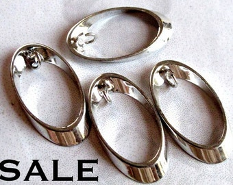 Silver Plated Oval Loop with Bail Charms (12X) (V402) SALE - 50% off