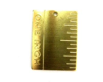 Raw Brass One Inch Ruler Pendants (4X) (M769)