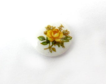 Vintage Japanese Glass Limoge Cabochons With A Yellow Rose Decal (8X) (CB517)