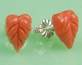 Coral Leaf Post Earrings