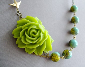 Statement Necklace,Chartreuse Flower Necklace,Floral Necklace,Chartreuse Necklace,Turquoise Necklace,Bib Necklace,Turquoise Jewelry,Gift