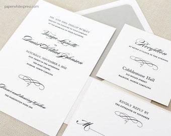 "Classic Wedding Invitation, Formal Wedding Invitation, ""Rachel"" - Sample Set"