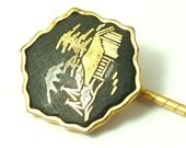 Vintage/ estate Art Deco 1940s/  1950s Japanese signed Amita, Damascene cravat pin