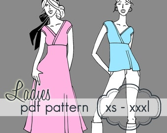 Ladies Crossover Tunic or Dress- INSTANT DOWNLOAD - xs through xxxl - pdf sewing pattern