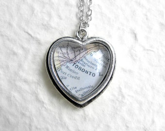 Toronto, Ontario Canada Map Necklace - Petite Heart Shaped Map Necklace CHOOSE from 9 maps