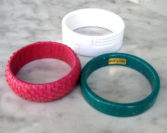 Summer Stack Bangles, Wide White Geometric, Teal Stone (Italy), Hot Pink Woven - 1980's Vintage Bracelets