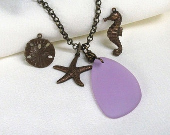 "Lilac Seaglass Charm Necklace, Teardrop Pendant, Antique Brass 30"" Rollo, Choice of Beach Charms... Sea Glass Jewelry"