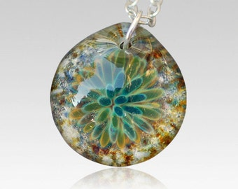 Cremation Pendant Glass Flower Necklace Borosilicate Boro Lampwork, Hand Blown Glass Jewelry Memorial Ash  - Waves