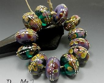 SRA HANDMADE LAMPWORK Glass Beads Donna Millard autumn fall winter Elderberry teal purple gold raku