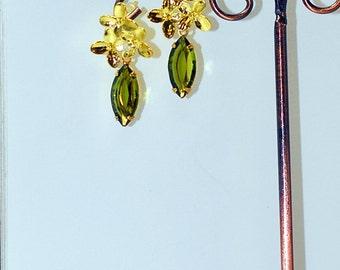 Olive Green N Gold Posies Flower Post Earrings Sweet N Petite