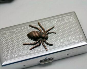 Huge Spider Coming to Get You Cigarettes Case Metal Wallet OOAK Mixed metals