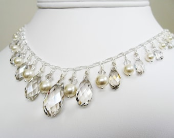 SALE - Chandelier Bridal Necklace with Swarovski Crystals and Sterling Silver, Luxe