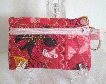 Quilted Floral Coin Purse - Flower Change Purse - Small Pink Zipper Pouch - Floral Earbud Case - Keychain with Coin Purse Attached