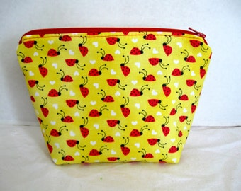Ladybug Make Up Bag - Yellow Red Cosmetic Bag - Ladybugs Zippered Pouch - Lady Bug Zip Pouch