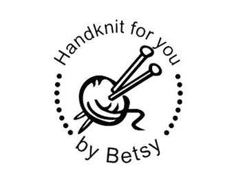 yarn and needles Custom HandKnit Just for You Personalized custom Rubber Stamp hand knit