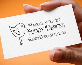 bird business card custom rubber stamp