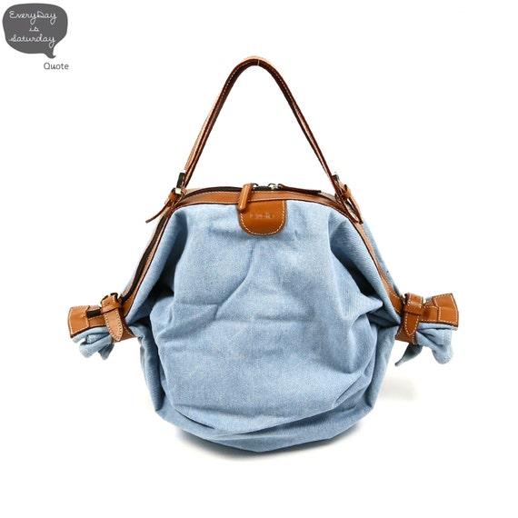 Candy bag  2 way Leather n Canvas -- Blue Denim
