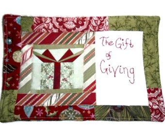 Patchwork Quilted Mugrug, The Gift of Giving