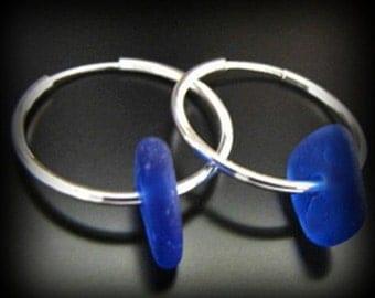 Sea Glass Jewelry, Rare Cobalt Blue - Genuine Sea Beach Glass Seaglass Wedding Earrings - Sterling Silver Hoops, Jewellery