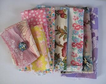 SALE...Pretty floral fabric scrap pack x 8 pieces