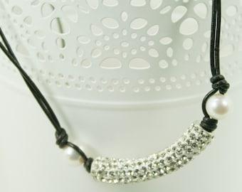 rhinestone tube necklace