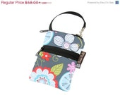 ON SALE Cell Phone Bag Small Crossbody Bag iPhone Shoulder Purse Cross Body Purse - Short Zip Cell Phone Bag - Fast Shipping - Hula Fabric