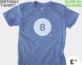 Eighth 8th Birthday TShirt Kids, Glow-in-the-Dark, Kids BIRTHDAY Shirt, 8th Birthday, Birthday Number Tshirt, Kids Birthday Party Favor