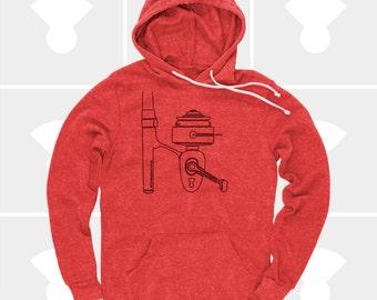 Fishing Gift, Fishing Shirt Women, Fishing Reel Hoodie, Pullover Sweatshirt, Rod & Reel, Gift for Girlfriend, Gift for Women, Camping Gift