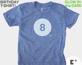 Eighth 8th Birthday TShirt Kids, Glow-in-the-Dark, Kids BIRTHDAY Shirt, 8th Birthday, Birthday Number Tshirt, Kids Birthday Party Favor