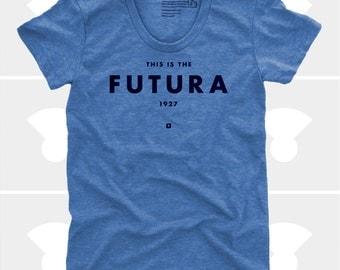 Futura Women's TShirt, Tee Shirt, Womens Top, S,M,L,XL, Graphic Design, Type, Blue, Typography Shirt (4 Colors) TShirt for Women