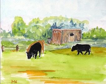 Original Watercolor Landscape Slimbridge England