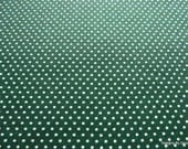 One Yard Cut Quilt Fabric, White Pin Dots on Dark Green, T & T Collection from Troy Corp., Quilting and Sewing Supplies