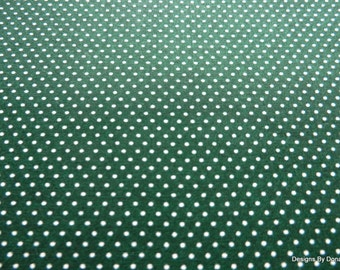 One Yard Cut Quilt Fabric, White Pin Dots on Dark Green, T & T Collection, Needlecraft, Quilting-Sewing-Craft Supplies