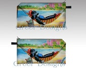 """Black Poodle Hawaii Beach Hammock Whimsical Cosmetic Makeup Pencil Case Bag pouch 7x4"""""""