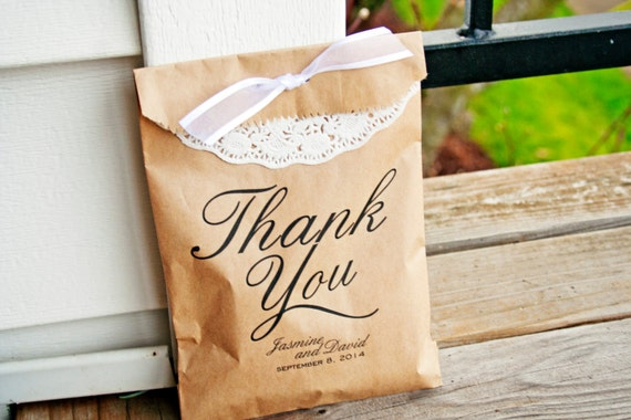 Personalised Wedding Thank You Gift Bags : Brown Paper Thank You Bags - Wedding Favor Bag - Thank You with Custom ...