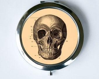 Skull Compact Mirror Pocket Mirror gothic psychobilly anatomy