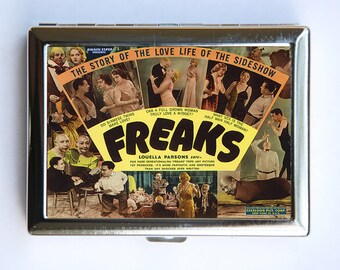 Freaks Vintage Poster Cigarette Case Wallet Business Card Holder circus sideshow oddities
