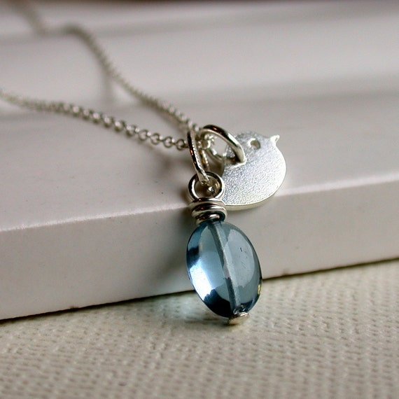 Sterling Silver Tiny Tweet Necklace. Bird Necklace. Bridesmaid Jewelry.