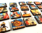 Halloween Squares - Collection of 28 Wooden Tiles