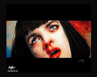"Print 11x14"" - Girl you'll be a women soon - Pulp Fiction Mia Wallace Quentin Tarantino Heroin Drugs Overdose 90s Gund Uma Thurman Pop Art"