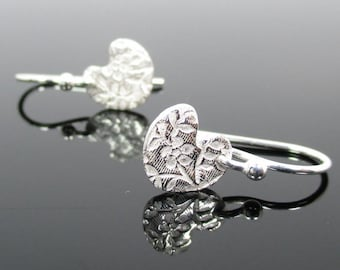 Fine Silver .999 Floral Heart Earrings