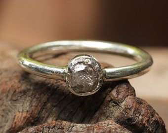 Rough diamond ring in sterling silver bezel and sterling silver band