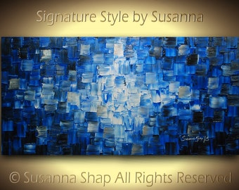 ORIGINAL large black blue abstract painting textured modern palette knife oil painting ready to hang 48x24 by susanna made2order