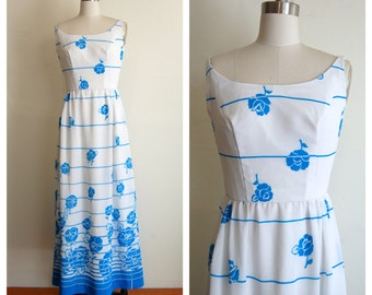 SALE// baby blue flowers long hippie dress small