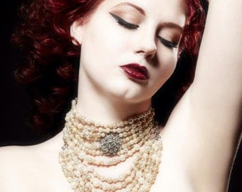 Fanciful Baroque Burlesque Inspired Marie Antoinette Choker Necklace by Louise Black made with vintage faux pearls