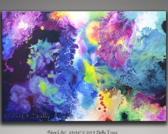 Abstract Giclee Canvas Gallery Wrap from my original painting NEW LIFE, large wall art, living room art, fluid - 16x24 - 20x30 - 24x36