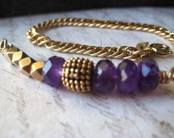 gold amethyst bracelet, vintage chain, February Birthstone, genuine amethyst, gold tone chain,brass beads, 14K gold filled